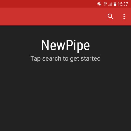 NewPipe početna stranica