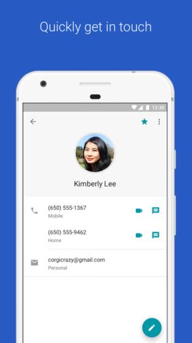 Prikaz kontakta u aplikaciji