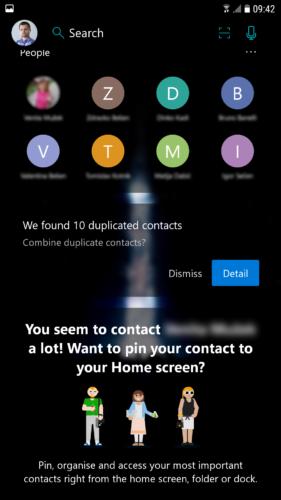 """Feed prikazuje najčešće kontaktirane osobe, kao i sugestije za određene kontakte da se """"pinaju"""" na homescreen"""