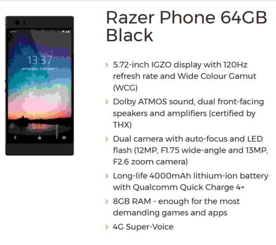 Razer Phone na stranicama 3G