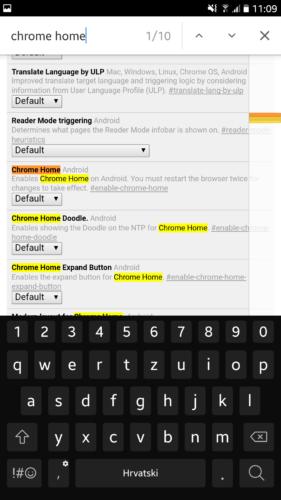 Chrome Home opcija