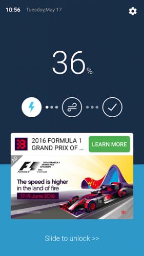 Primjer reklame na zaključanom ekranu
